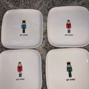 Four Rae Dunn square Nutcracker Plates